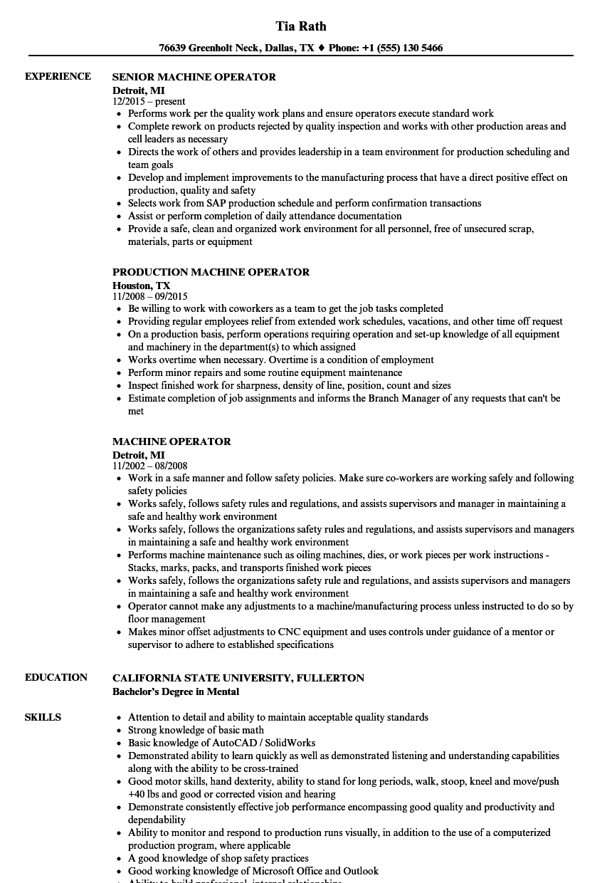 resume examples for a machine operator