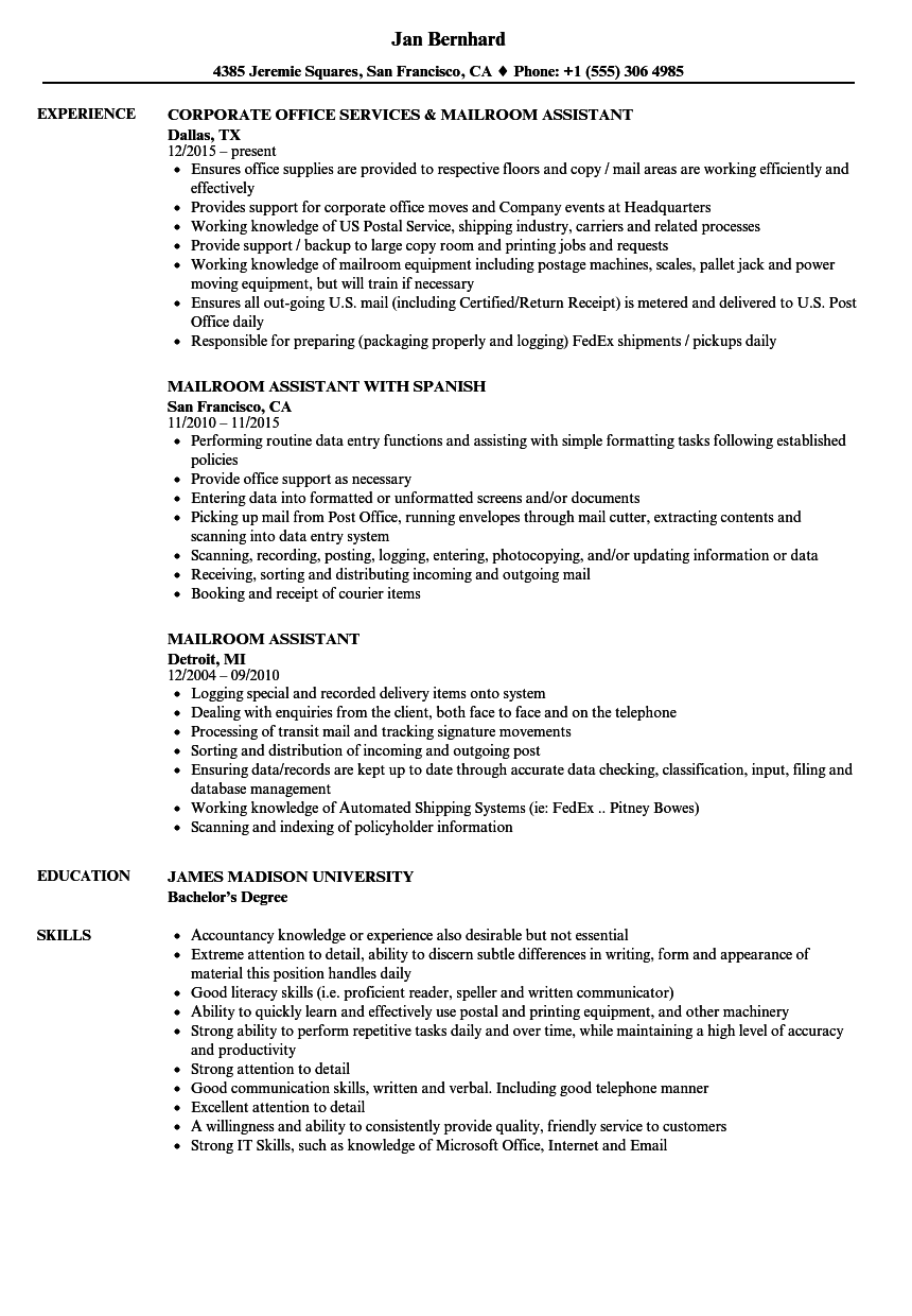 Mailroom Assistant Resume Samples Velvet Jobs