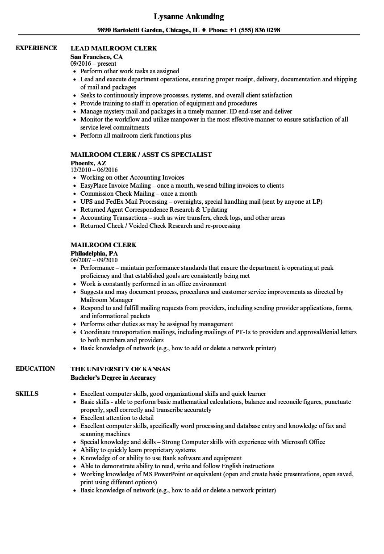 processing clerk resume sample