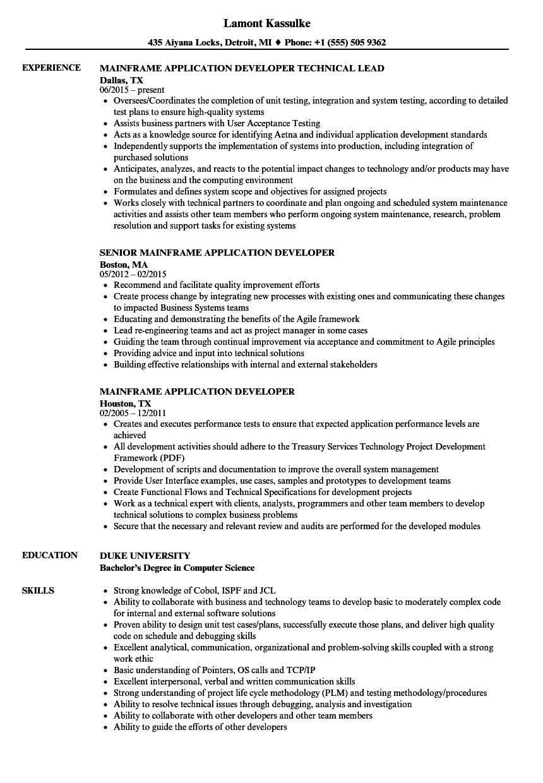resume samples mainframe developer