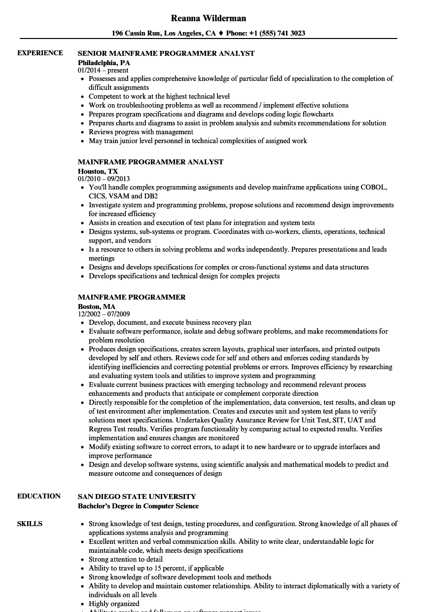 sample resume of programmer analyst
