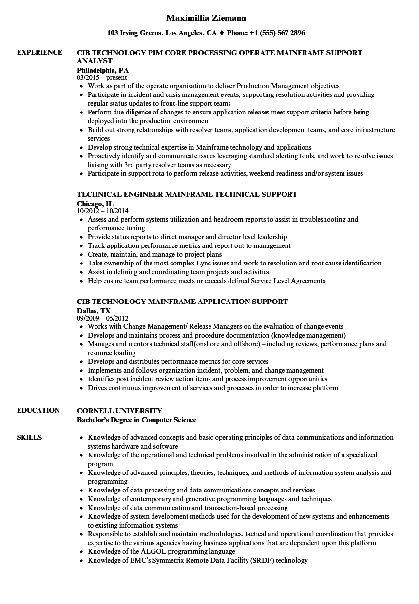 Mainframe Production Support Cover Letter