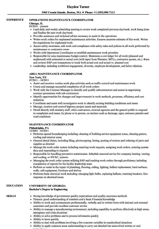 maintenance job resume examples
