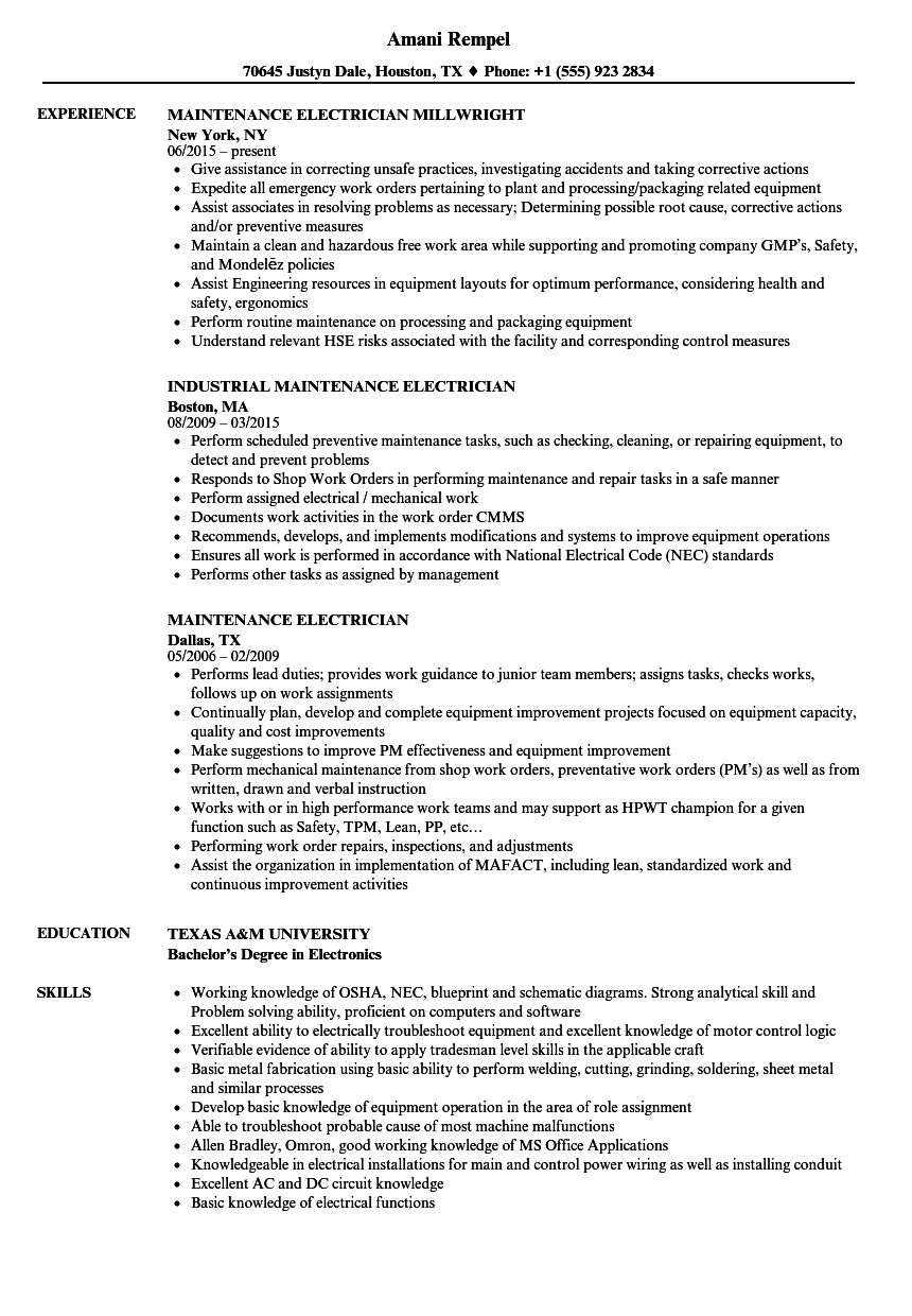 Maintenance Electrician Resume Samples Velvet Jobs