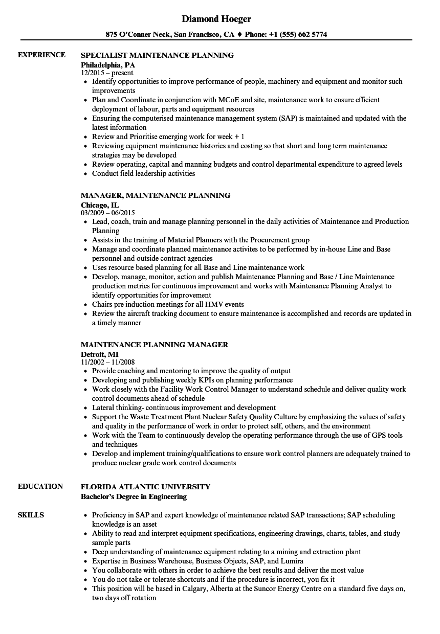 Maintenance Planning Resume Samples  Velvet Jobs