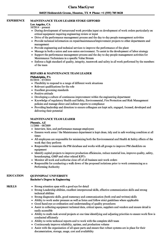 Maintenance Team Leader Resume Samples  Velvet Jobs