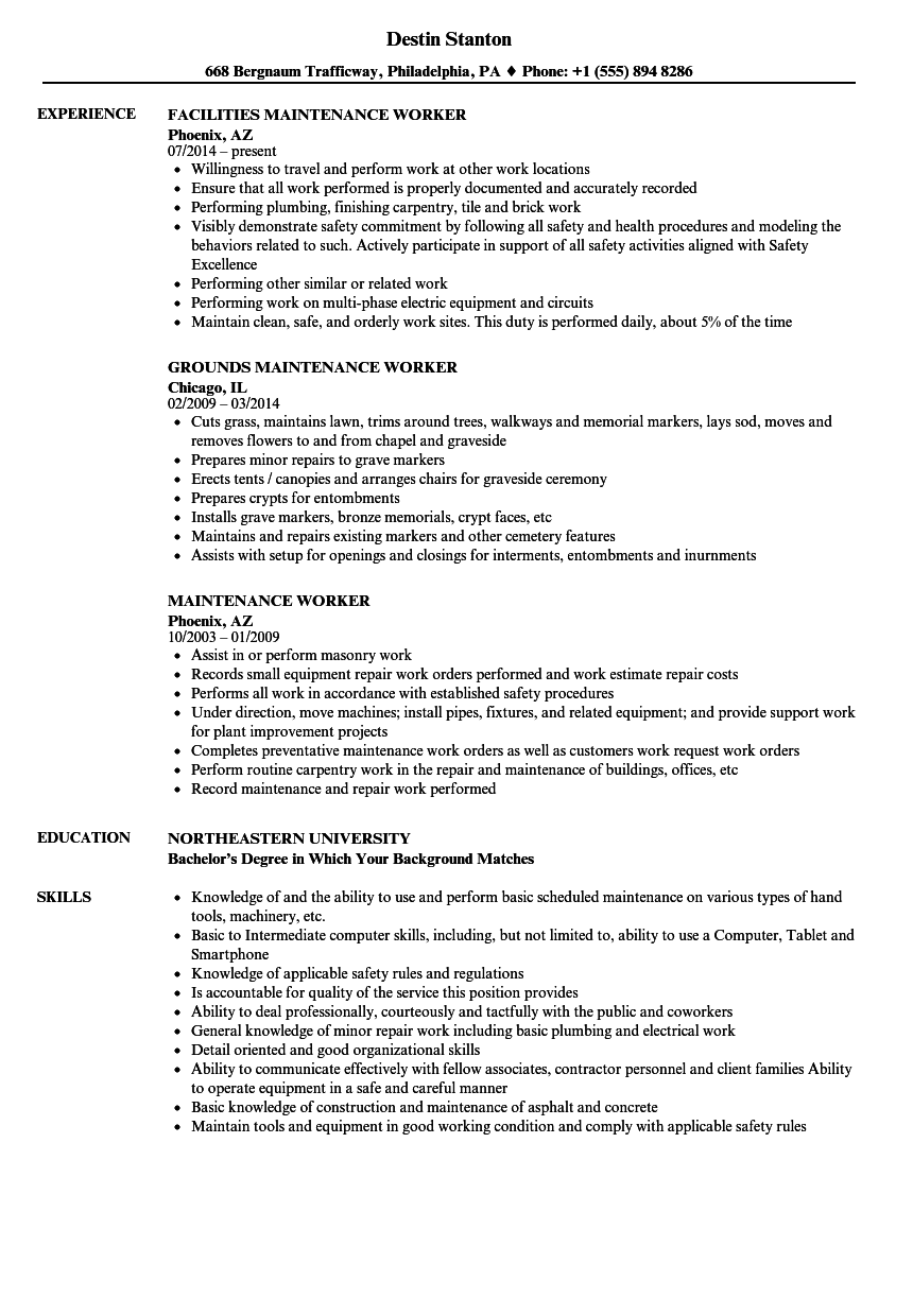 resume template for maintenance worker