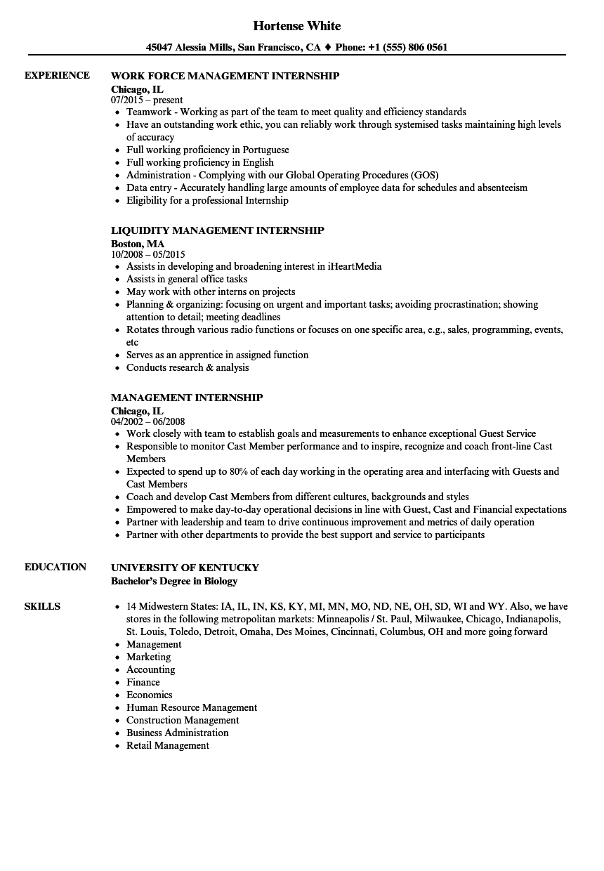 management internship resume samples