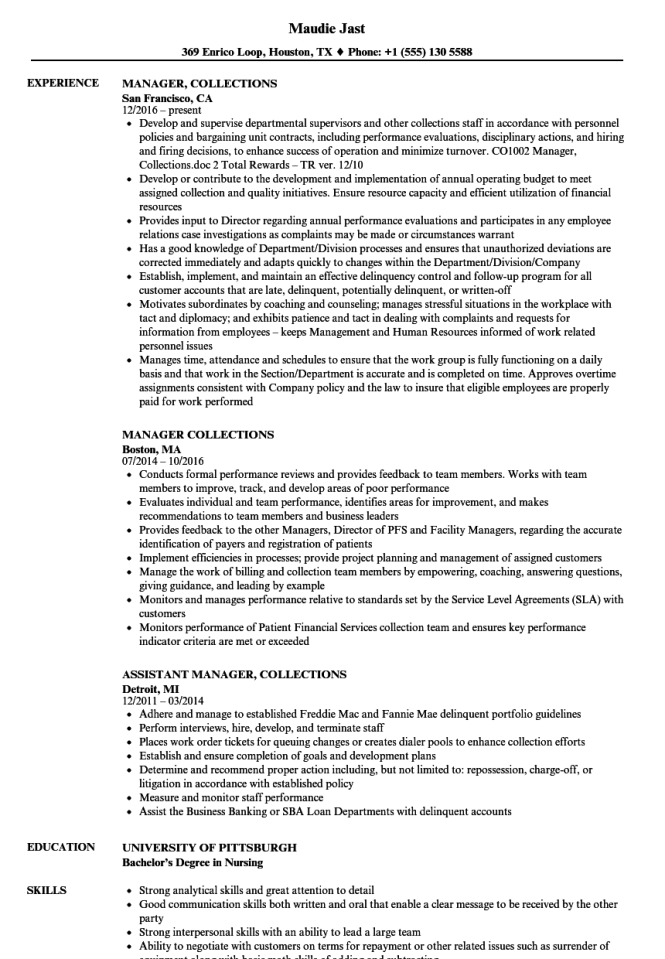 debt collector resume collections manager utilitarianism and other - Loan Collector Sample Resume