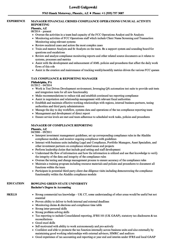 sample sec compliance resume