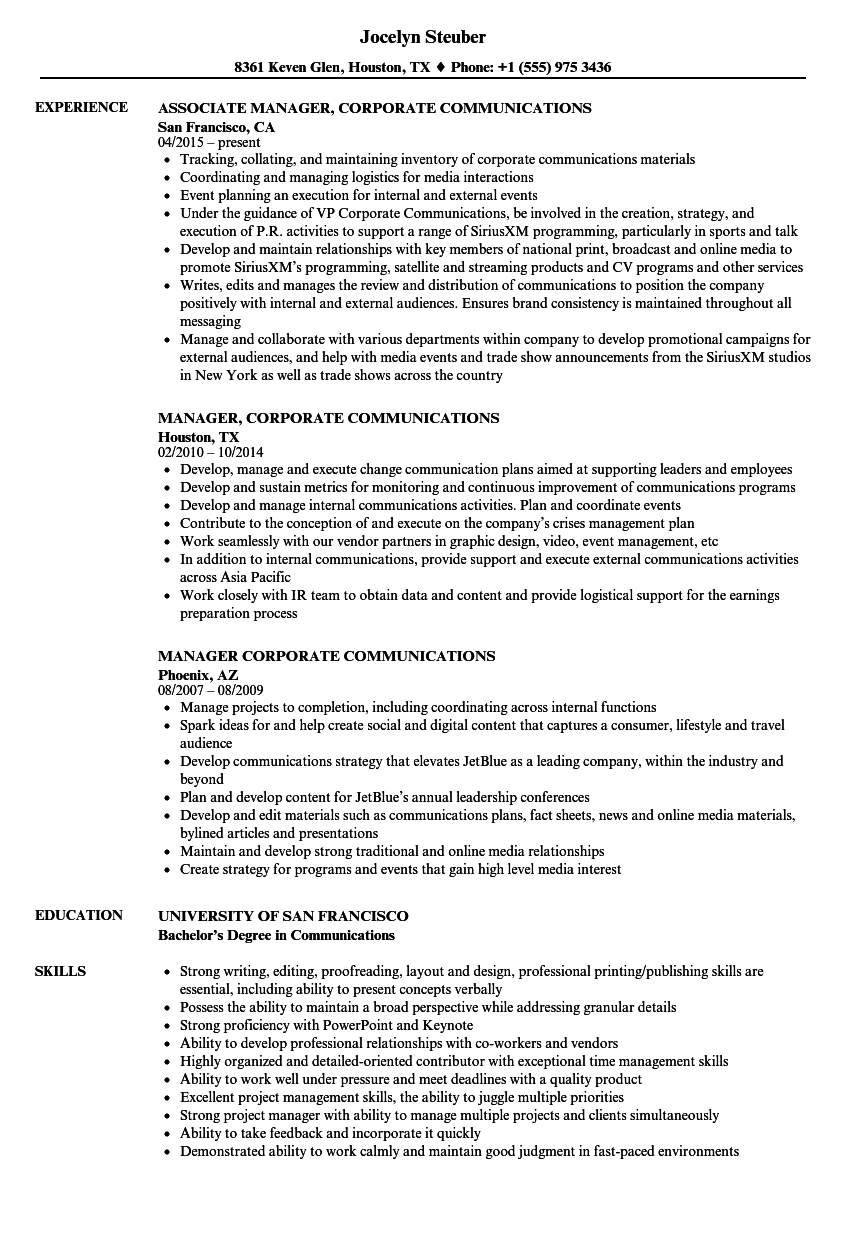 Manager Corporate Communications Resume Samples Velvet Jobs