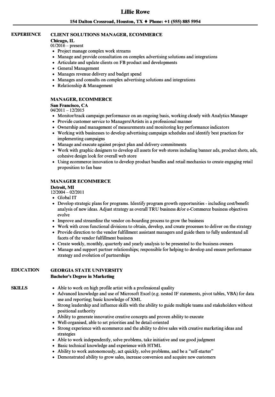 Manager Ecommerce Resume Samples Velvet Jobs