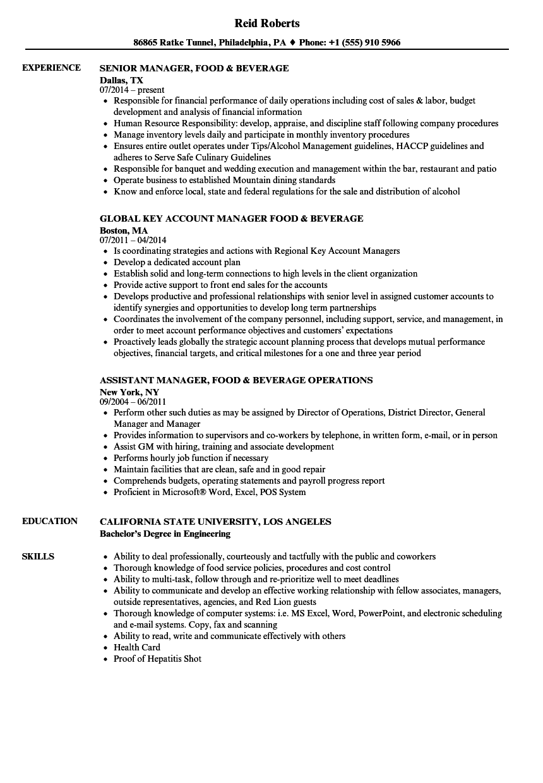 food service assistant manager resume sample