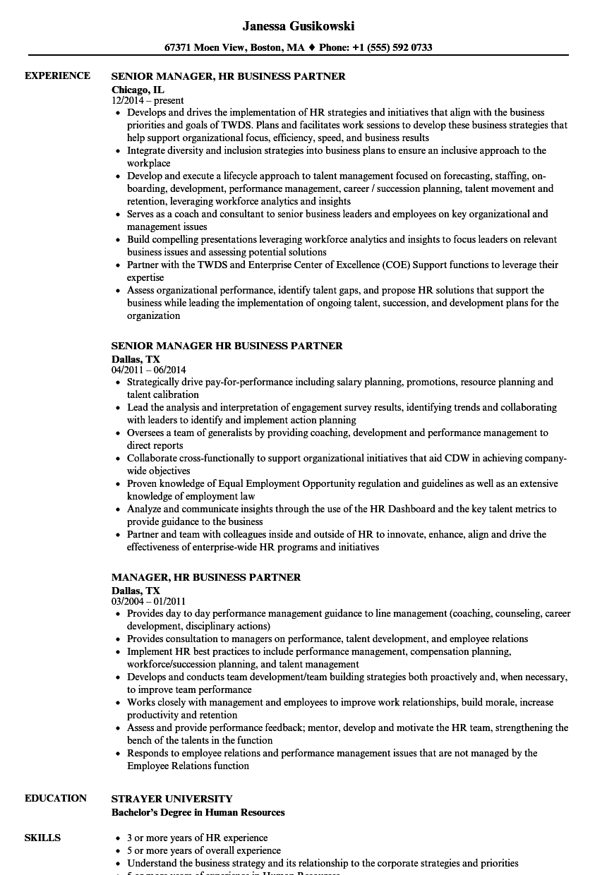 hr business partner resume examples