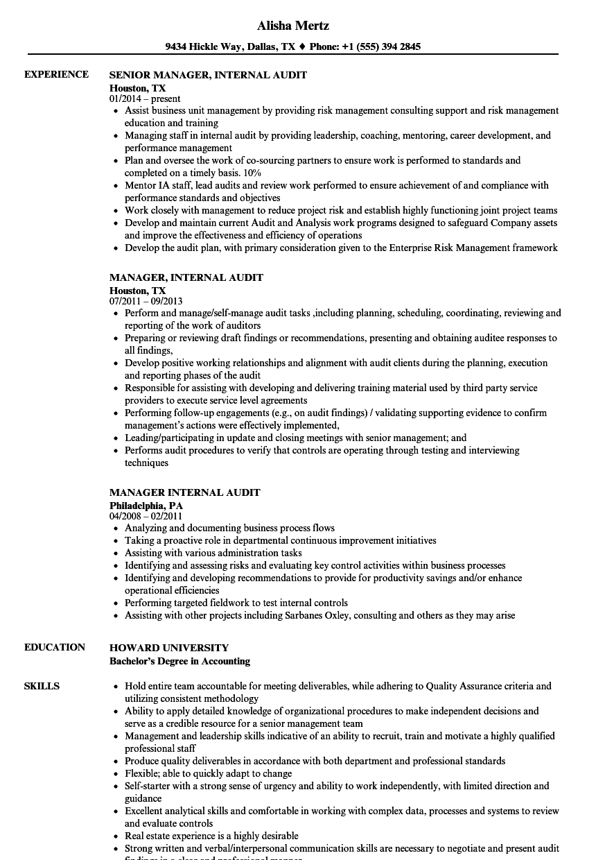 Manager Internal Audit Resume Samples  Velvet Jobs