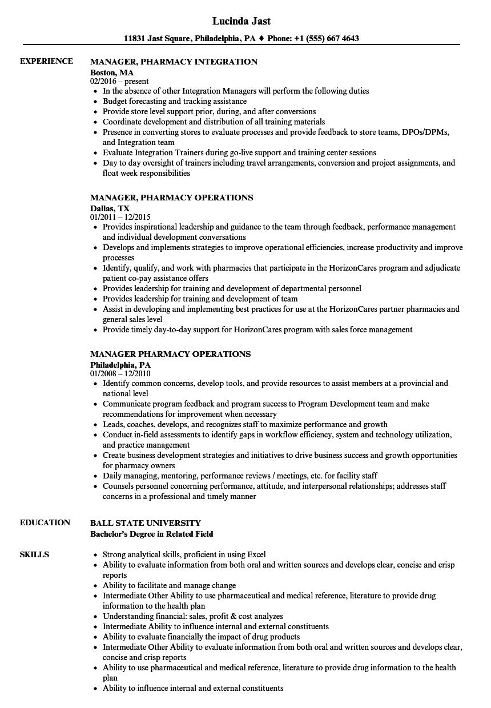Manager Pharmacy Resume Samples Velvet Jobs