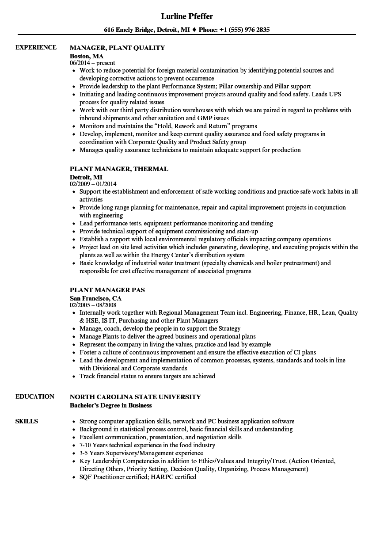 Manager Plant Resume Samples | Velvet Jobs