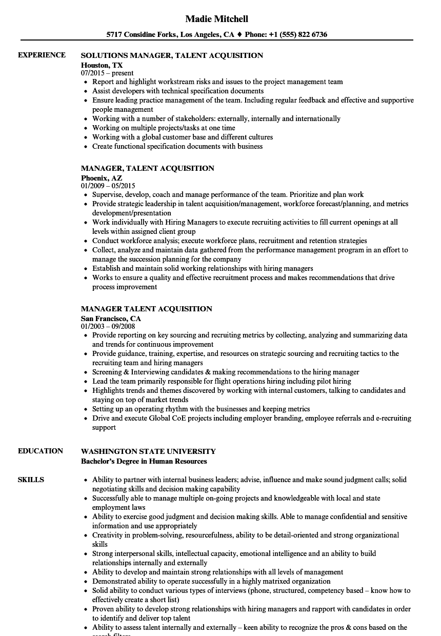 resume for management job