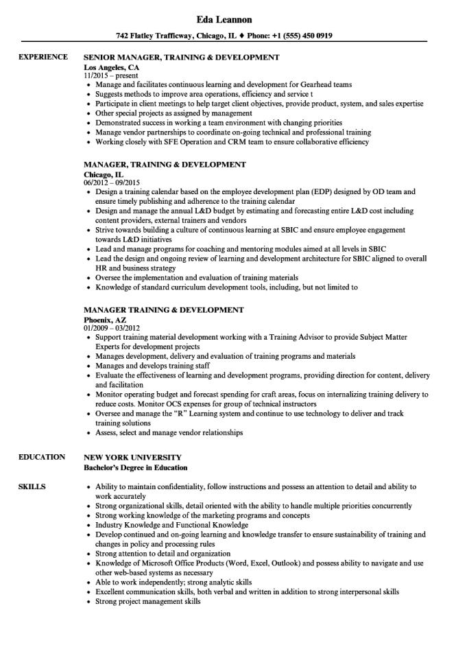 training and development resume