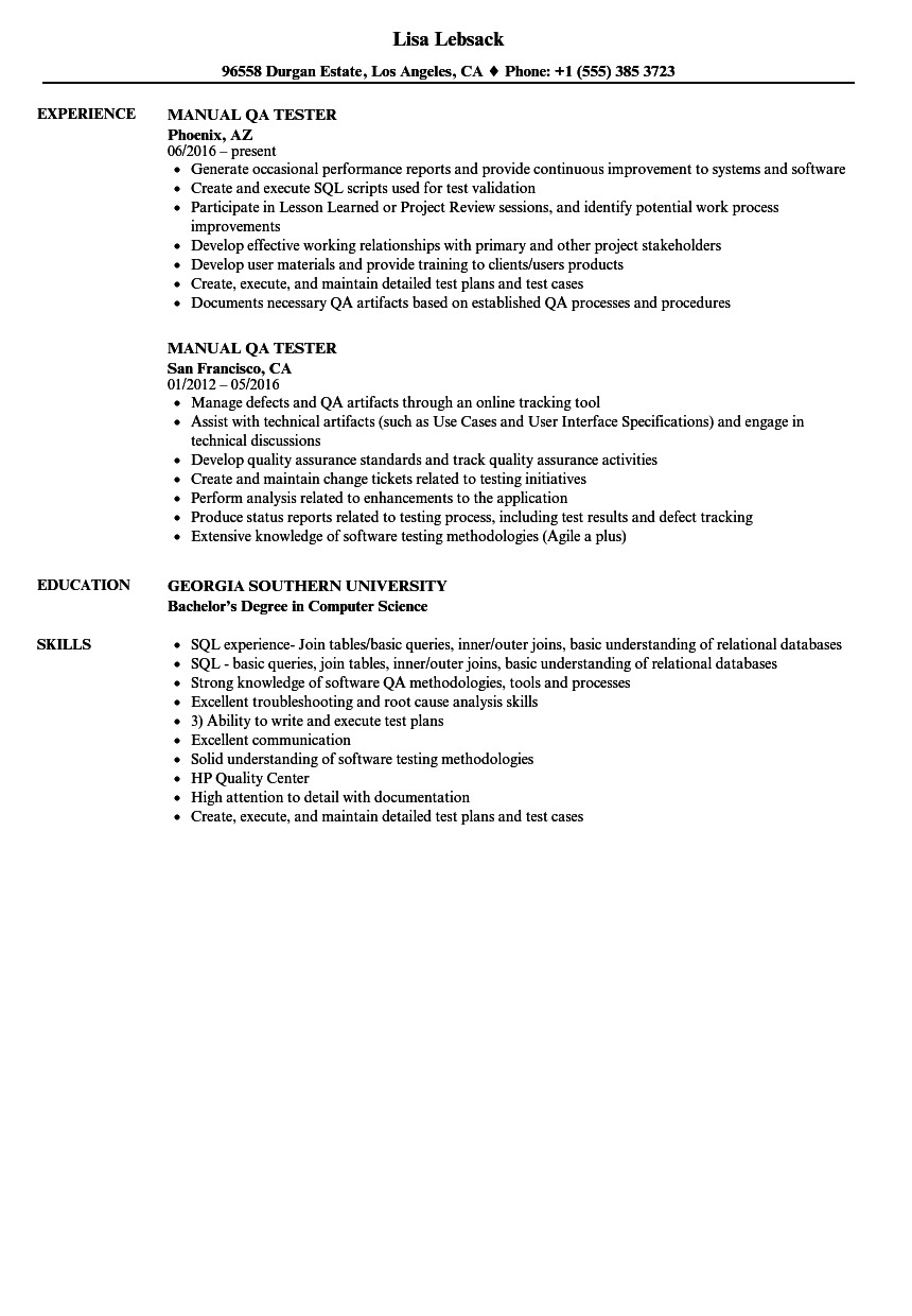 qa tester resume with 2 years experience