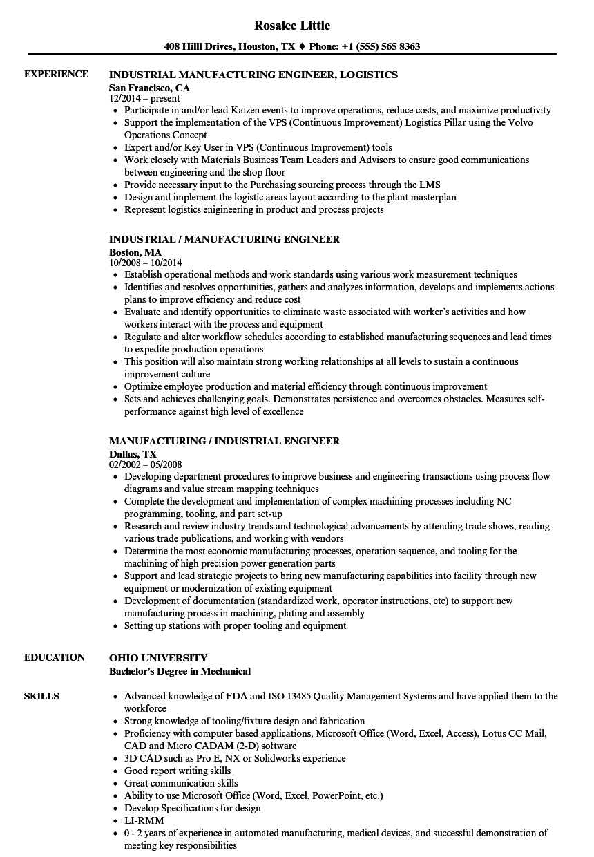 Manufacturing Industrial Engineer Resume Samples