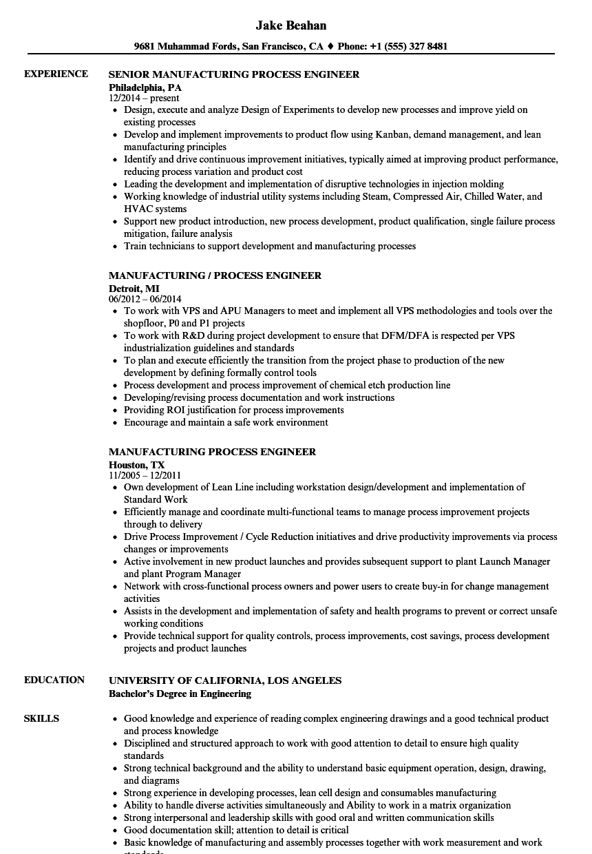 resume sample manufacturing