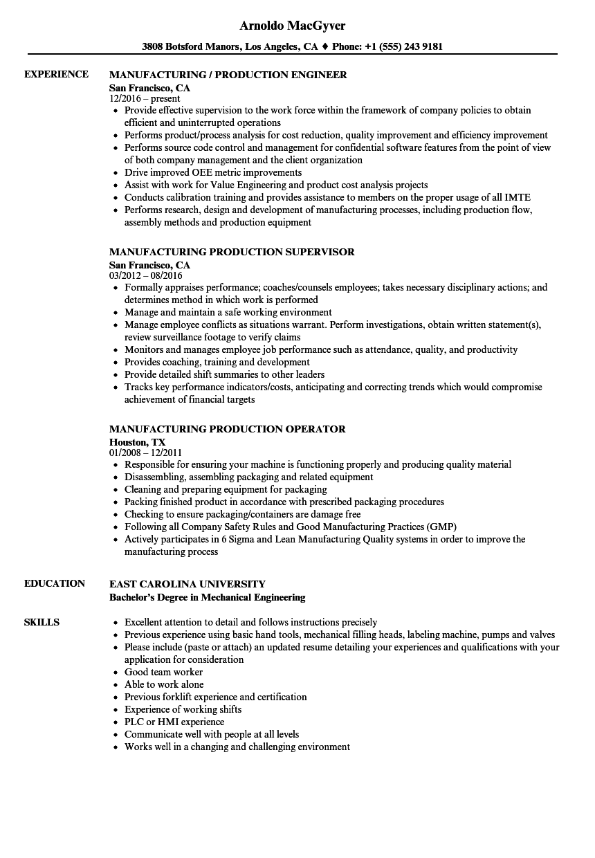 Manufacturing Production Resume Samples  Velvet Jobs