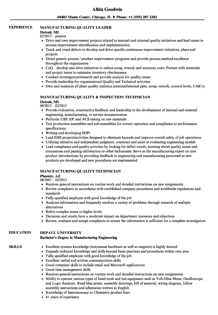 sample resume manufacturing supervisor