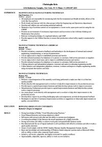 Manufacturing Technician Resume Samples | Velvet Jobs