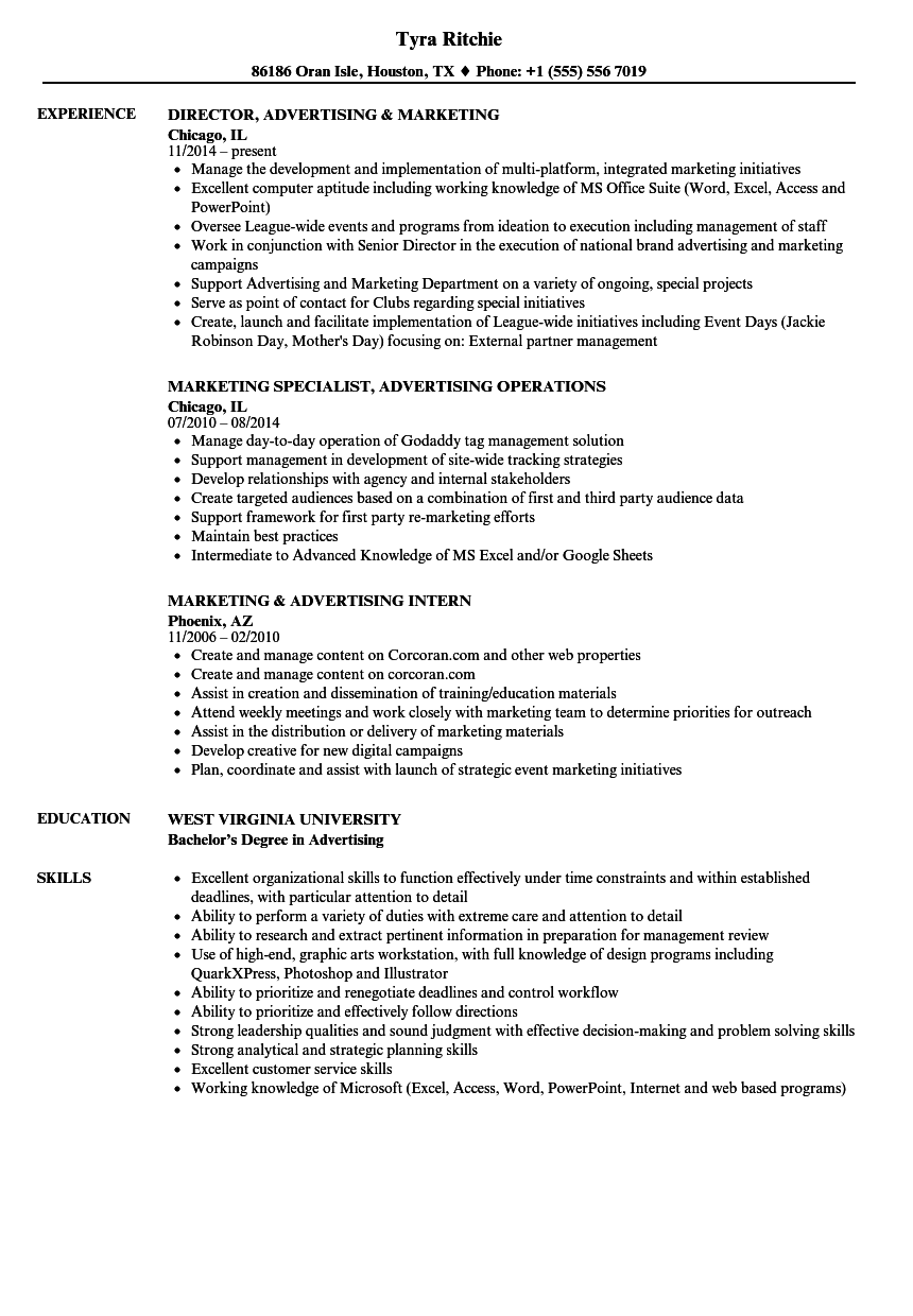 Marketing & Advertising Resume Samples Velvet Jobs