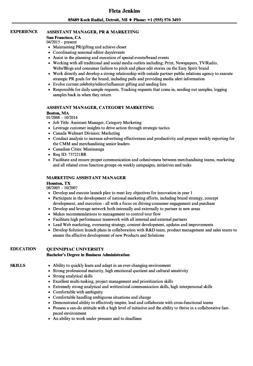 Assistant Manager Resume Examples - Examples of Resumes