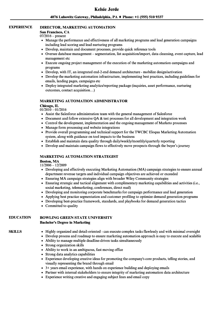 Download Marketing Automation Resume Sample As Image File