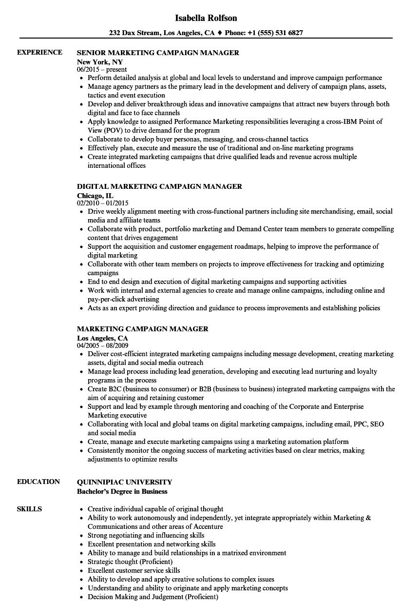 Marketing Campaign Manager Resume Samples Velvet Jobs