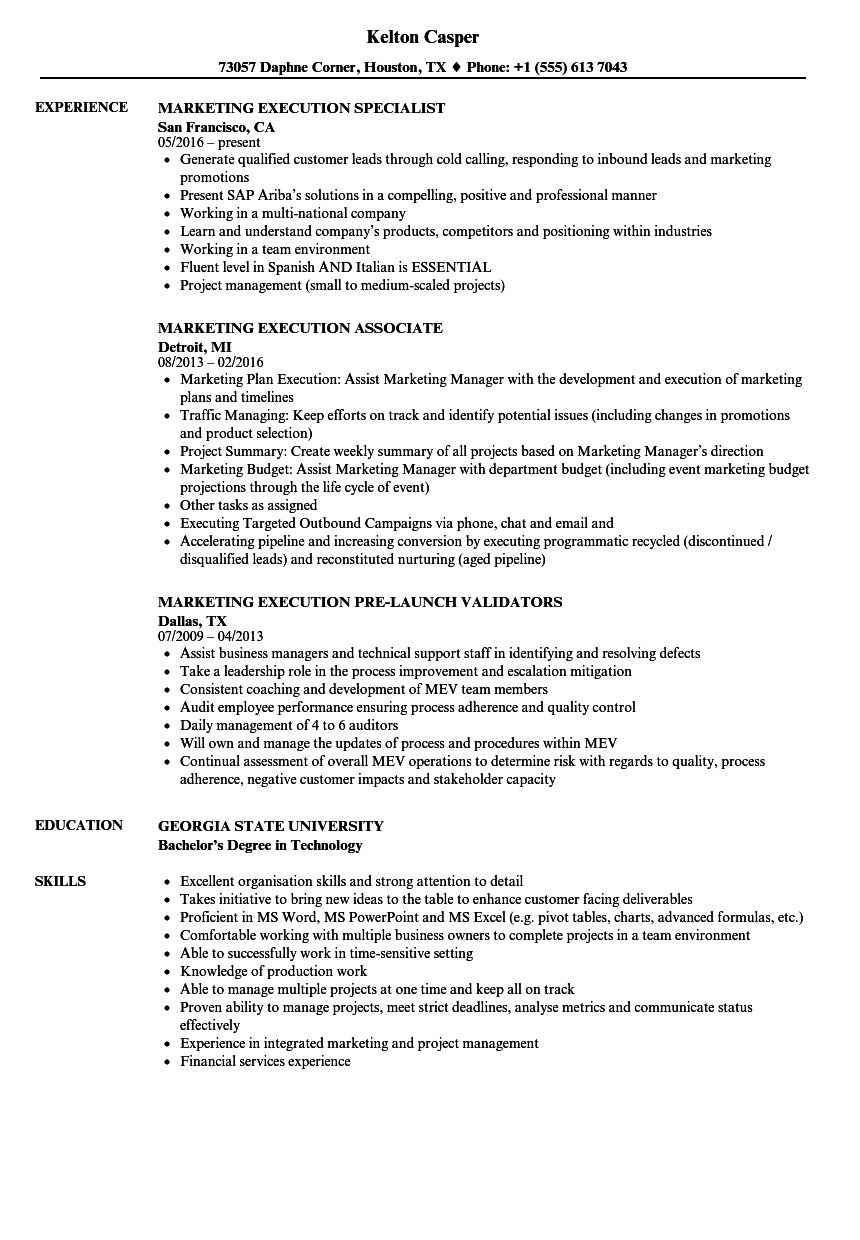 Marketing Execution Resume Samples Velvet Jobs