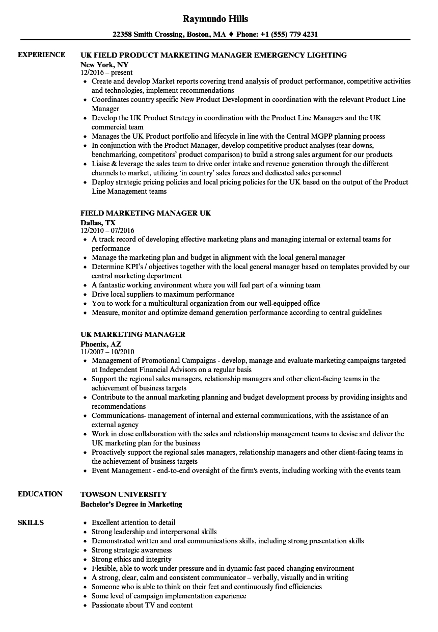 Marketing Manager UK Resume Samples Velvet Jobs