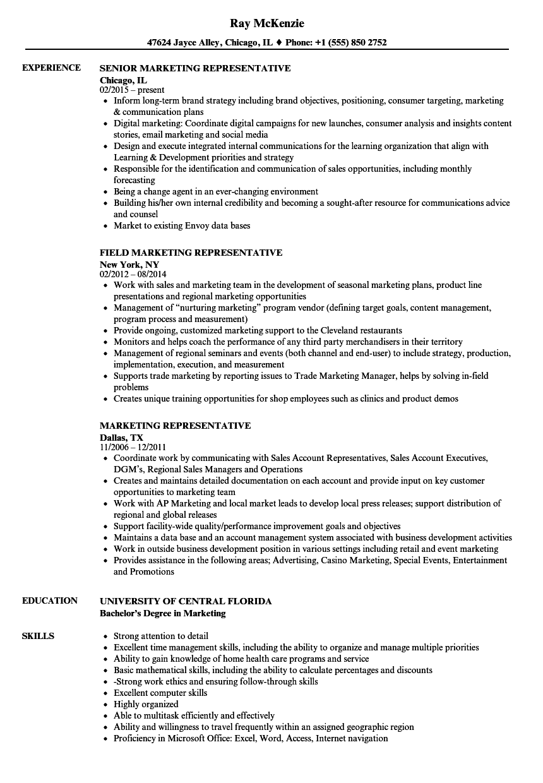 Download Marketing Representative Resume Sample As Image File