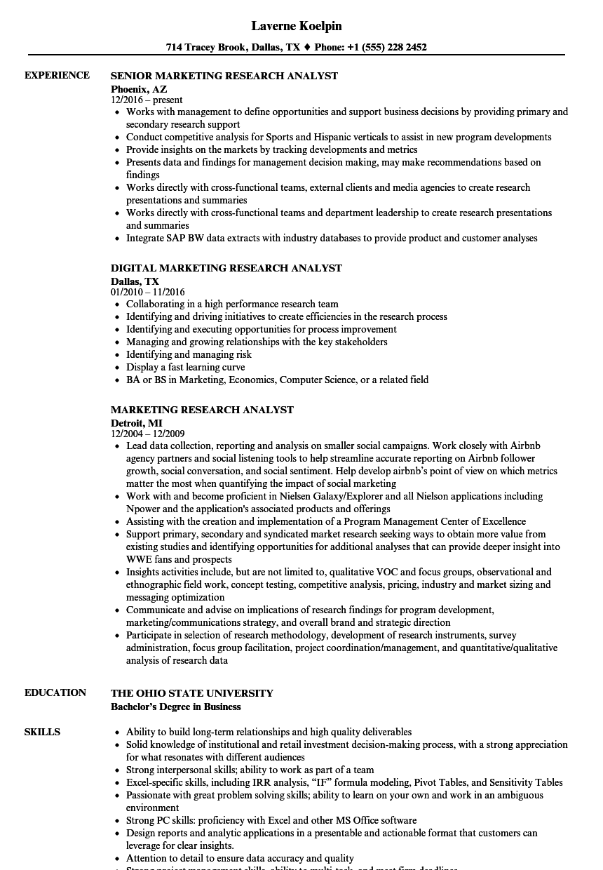 Download Marketing Research Analyst Resume Sample As Image File