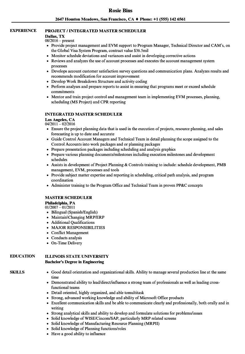Master Scheduler Resume Samples Velvet Jobs