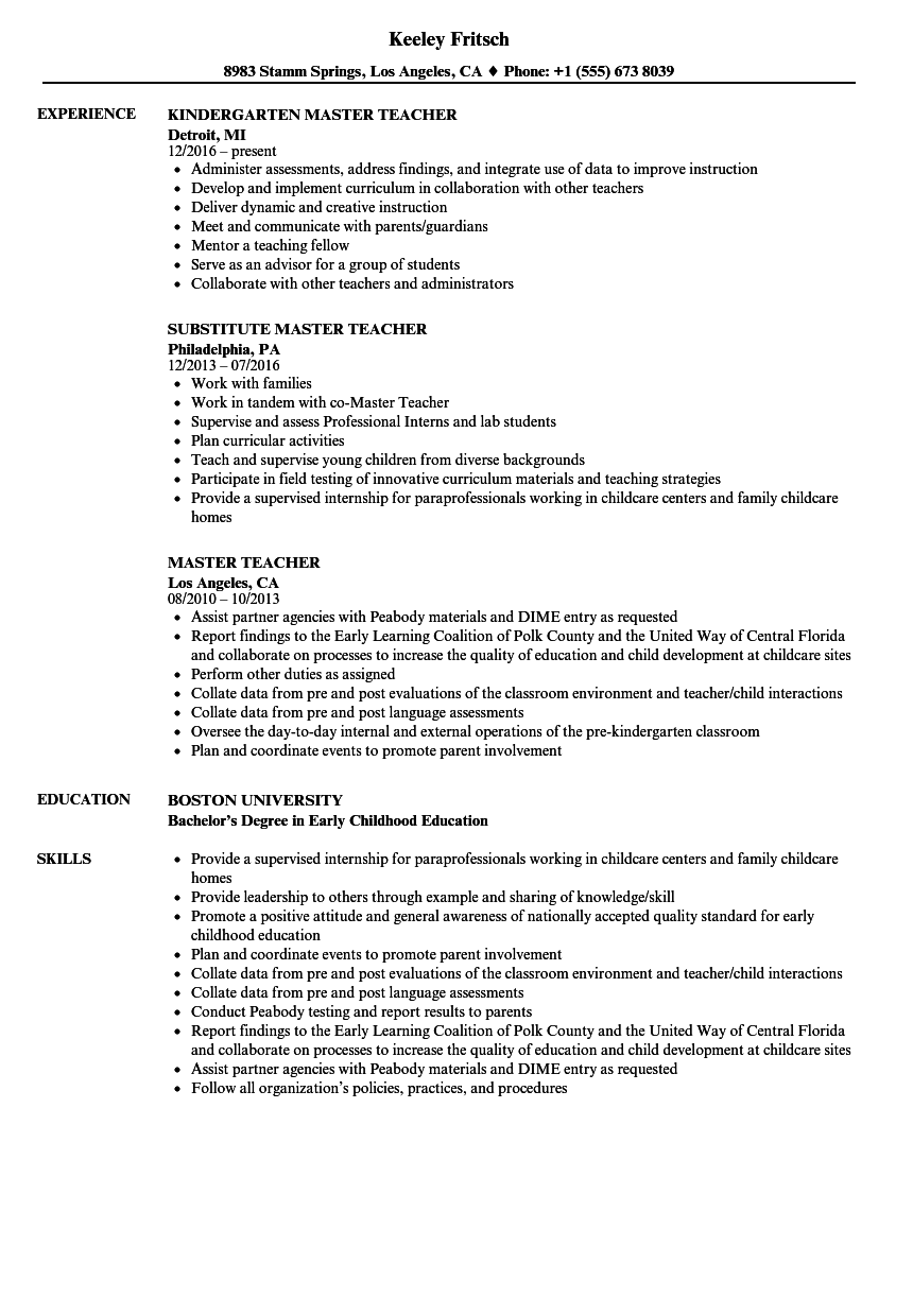 Master Teacher Resume Samples | Velvet Jobs