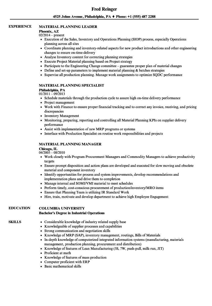 Material Planning Resume Samples Velvet Jobs