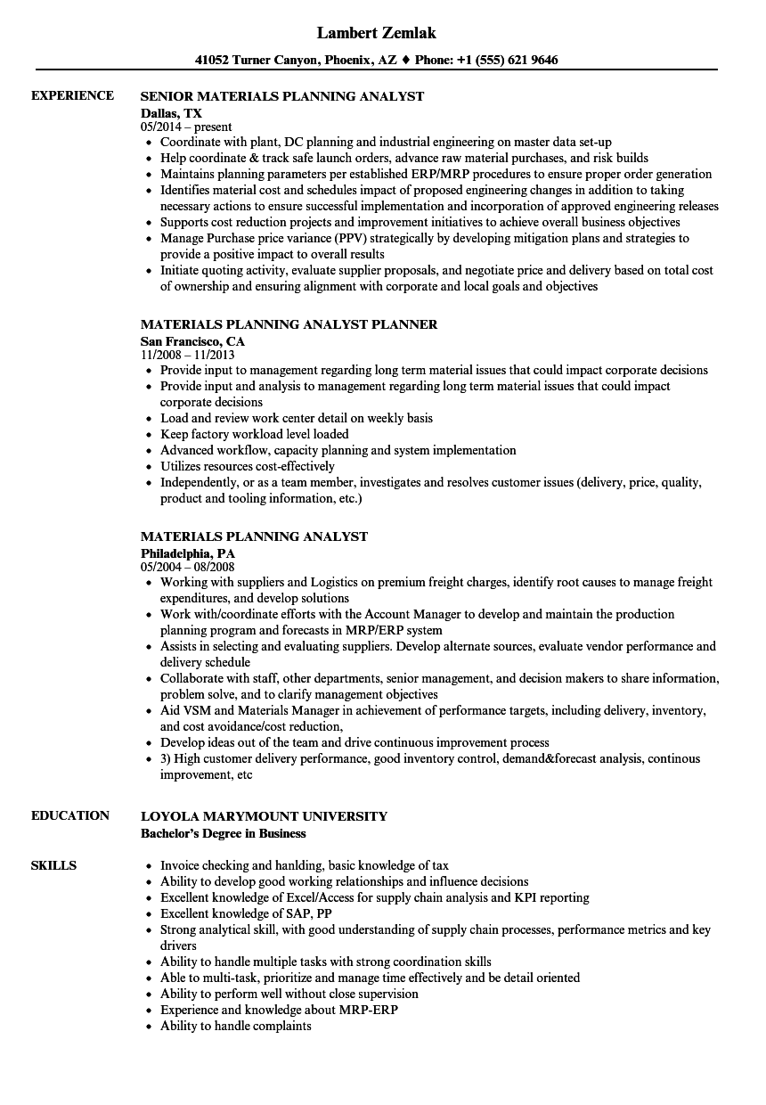 Materials Planning Analyst Resume Samples Velvet Jobs