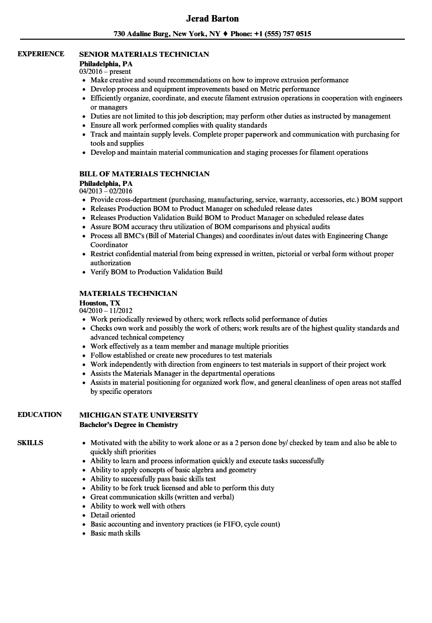 Materials Technician Resume Samples Velvet Jobs