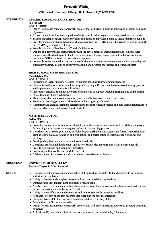 math instructor resume sample