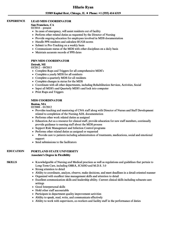 mds coordinator resume sample