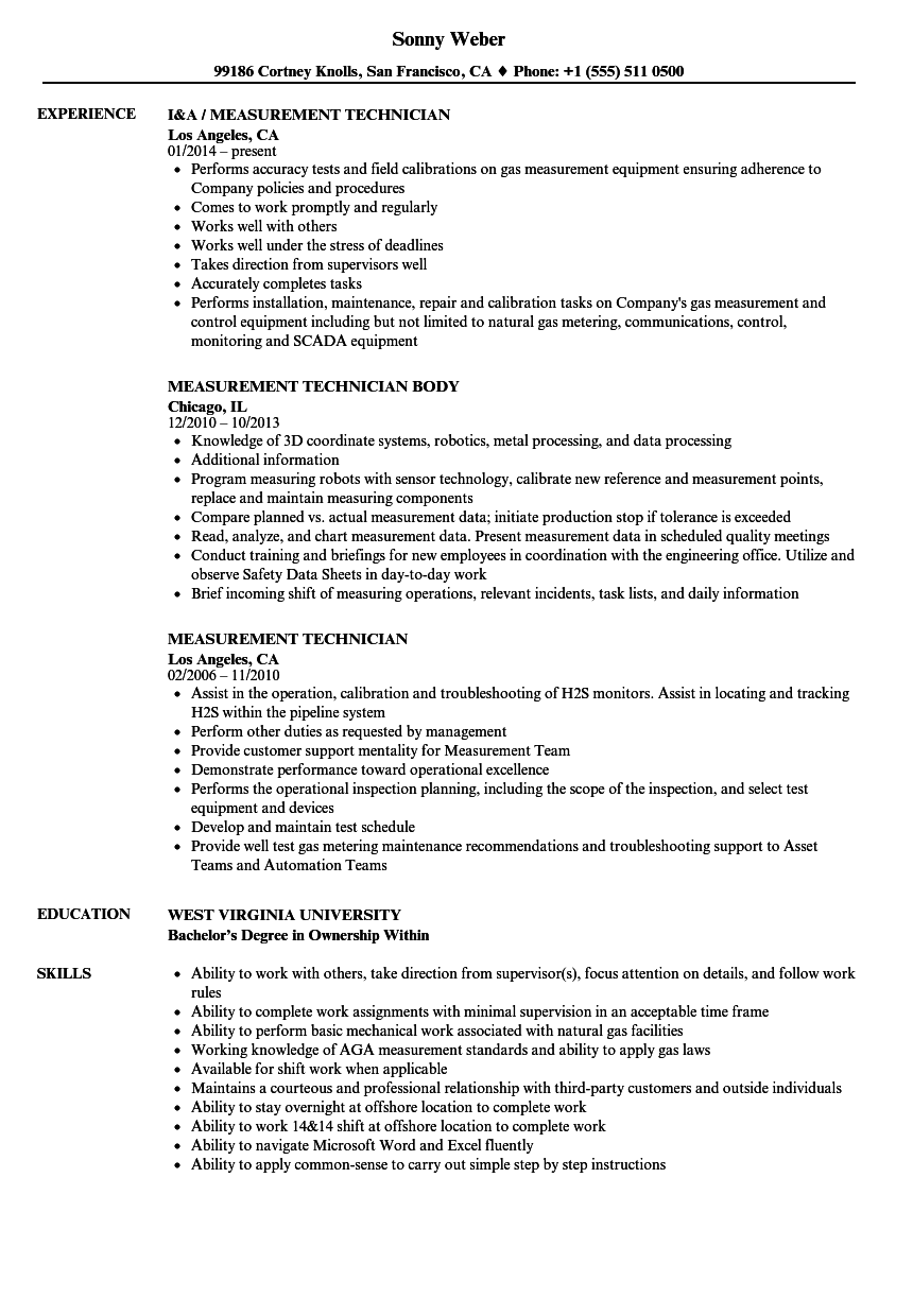 Measurement Technician Resume Samples  Velvet Jobs