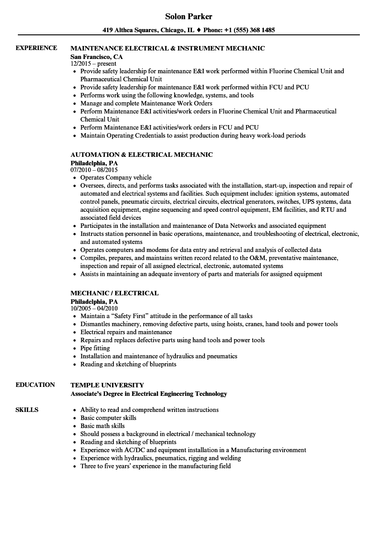 sample electrical resume