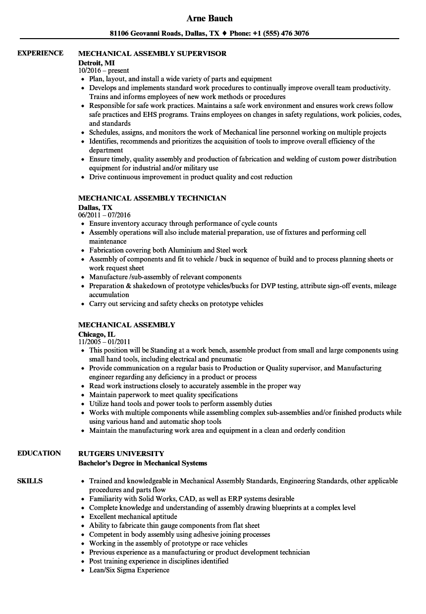 lead hand sample resume