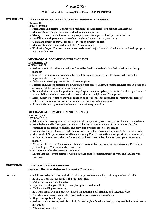 mechanical commissioning technician resume sample
