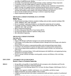 download mechanical design engineer resume sample as image file [ 860 x 1240 Pixel ]