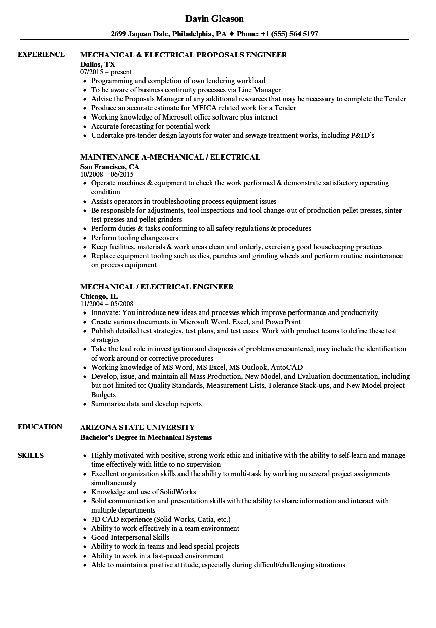 Download Mechanical / Electrical Resume Sample As Image File